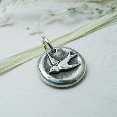 Sparrow+Artisan+Handmade+Bird+Charm+in+Fine+Silver+with