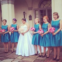 60's dresses for bridesmaids. Hot pink and teal