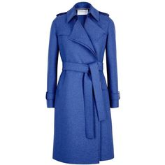 Harris Wharf London Blue Wool Felt Trench Coat - Size 14 (65215 DZD) ❤ liked on Polyvore featuring outerwear, coats, woolen coat, harris wharf london, open front coat, wool coat and woolen trench coat