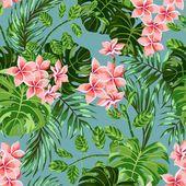 Flores y hojas tropicales — Ilustración de stock #56814517