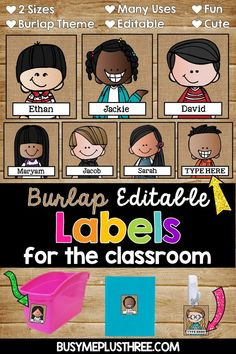 Editable Name Tags and Labels Melonheadz Burlap Kids} Are you ready to organize your classroom with some cute labels? These are perfect name tags for book boxes, notebooks, folders, and more! Plus, they are a cute burlap theme! Grab them today. Classroom Name Tags, Classroom Jobs, 3rd Grade Classroom, Classroom Supplies, Classroom Design, Classroom Decor, Classroom Management, Classroom Resources, Book Box Labels