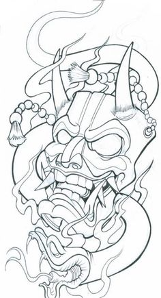 Demon Mask Tattoo Designs Chinese mask tattoo meaning Mascara Samurai Tattoo, Mascara Hannya, Tattoo Mascara, Japanese Mask Tattoo, Japanese Tattoo Designs, Japanese Oni Mask, Japanese Wave Tattoos, Hannya Maske Tattoo, Oni Mask Tattoo