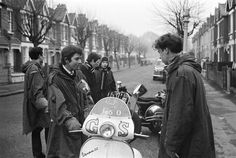 Mods in parkas & their Vespa scooters, London 1964 - Peter Francis
