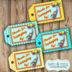 Curious George Party Favor Tags / Curious George Birthday Gift Tags  by HeartsandCraftsy