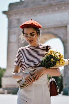 béret femme dame parisienne fleurs #mode #fashion #style