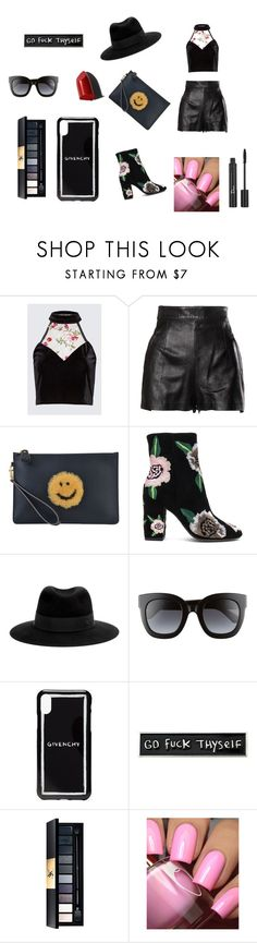 """Rock in black"" by miloni-jhaveri ❤ liked on Polyvore featuring Moschino, Anya Hindmarch, Rebecca Minkoff, Maison Michel, Gucci, Givenchy, RIPNDIP, John Lewis, Christian Dior and Bobbi Brown Cosmetics"