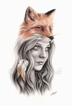 Mädchen Feder einheimischen indischen spirituellen Emo Art Print Zindy Fuchs
