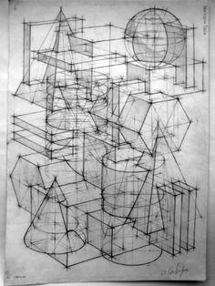 Композиция из геометрических тел. Рисунок по представлению, обзор. Архитектурный рисунок – курсы не вставая с дивана. Архитектурные рисунки карандашом композиции из простых геометрических фигур