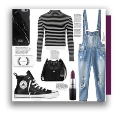 """""""Denim Overall Outfit"""" by isi2502 ❤ liked on Polyvore featuring Relaxfeel, Topshop, Converse, MAC Cosmetics, Native Union, MICHAEL Michael Kors, outfit, denim, overalls and DenimStyle"""