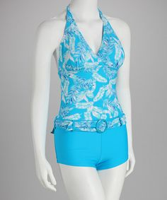 Take a look at this Leaf Blue Halter Tankini - Women by Marina West on #zulily today!