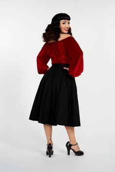 Pinup Couture Swann Top in Red Stretch Velvet Pinup Girl Clothing, Pinup  Couture, Casual 228a9bedef