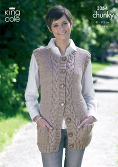 Waistcoat and Slipover in King Cole Big Value Chunky - Discover more Patterns by King Cole at LoveKnitting. The world& largest range of knitting supplies - we stock patterns, yarn, needles and books from all of your favourite brands. Knit Cardigan Pattern, Knitted Poncho, Kids Knitting Patterns, Knitting Designs, King Cole, Knit Crochet, Creations, Couture, Clothes