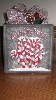 Lighted Candy Cane Forest Glass Block