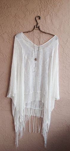 Gypsy White Beach Bohemian Tunic with Fringe and floral romantic design coverup or dress