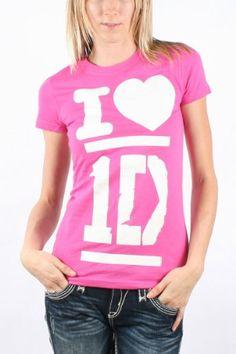 One Direction - Womens I Heart 1D T-shirt in Fuschia - $18.95