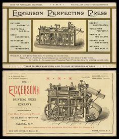 Trade card, front and back.Eckerson Printing Press Company