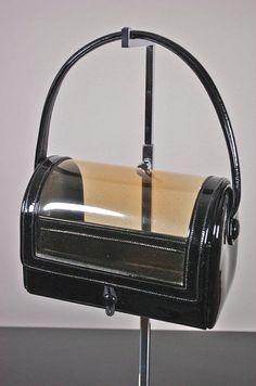SOLD Mod 1960s bag box purse black patent leather clear vinyl 60s handbag