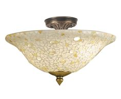 Dale Tiffany 8565/3LTF Mosaic/Clear Flush Mount Light, Antique Bronze and Mosaic Shade - Close To Ceiling Light Fixtures - Amazon.com