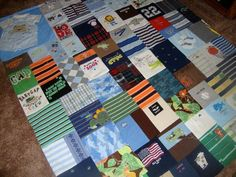 Custom Memory Blanket made from your Little Love's baby clothing- oversized/ adult size throw. $300.00, via Etsy.