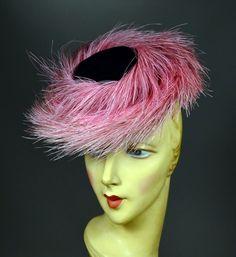 40's VINTAGE WOMEN's TOY TILT HAT - VELVET & FEATHER SPRING-RING HAT - NEW YORK CREATIONS.  SOLD at rpvintage.com.