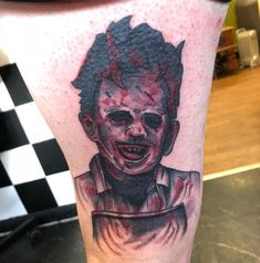 Photo by (yoshimop) on Instagram | #leatherface #leatherfacetattoo #horrorfilm #horrorfilmtattoo #horrortattoo #horror #filmtattoo #tattoo Horror Tattoos, Skull, Portrait, Instagram, Men Portrait, Skulls, Portraits