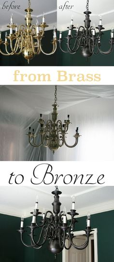 Redesign Your Chandelier: From Boring Brass to Beautiful Bronze Homes built in the and often featured brass fixtures and although functional and still beautiful, they are prime targets for an update. Rather than replace them, why Brass Chandelier Makeover, Painted Chandelier, Old Chandelier, Bronze Chandelier, Painting Chandeliers, Painting Light Fixtures, Chandelier Ideas, Lamp Makeover, Iron Chandeliers