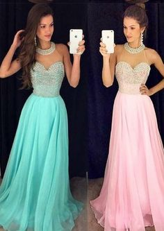 Floor Length Blue Pink Crystals Halter Chiffon Sleeveless A-line Ruched Homecoming / Prom Dresses