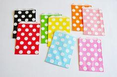 10 Sacchetti di carta pois rosa / Soft Pink Polka Dots Paper Bags (10 paper bags per pack)