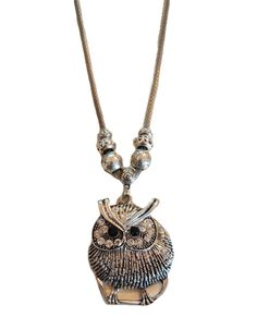 Owl necklace with gem stones silver