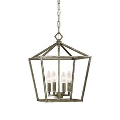 Small Geometric Open Cage Lantern in Antique Silver by Millennium Lighting 3234AS