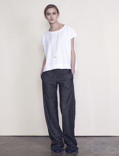 White Basic Fab Pants and Simple Necklace