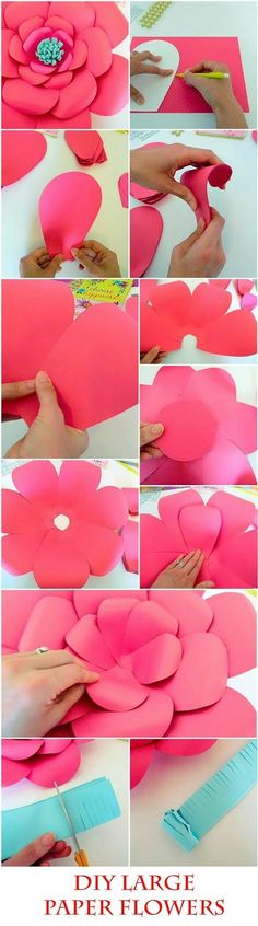 DIY Giant Paper flowers. Easy backdrop flower tutorial with printable flower templates.