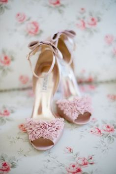 Get inspired: Pink Badgley Mischka (@?? ?? Badgley Mischka) #wedding shoes.