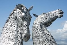 Free Stock Photo: Famous tourist attraction of towering horse head sculptures known as the Kelpies, in Falkirk Scotland - By freeimageslive contributor: photoeverywhere Sculptures, Lion Sculpture, Two Horses, Horse Head, Free Stock Photos, Equestrian, Free Images, Scotland, Tower