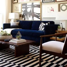 Amazing Navy Blue Sofa Living Room Design 92 In Dining Room Inspiration with Navy Blue Sofa Living Room Design Design Living Room, Eclectic Living Room, My Living Room, Home And Living, Living Room Decor, Living Spaces, Modern Living, Modern Wall, Modern Sofa