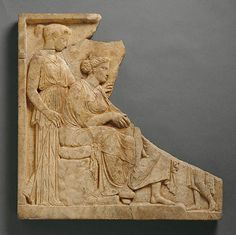 Votive relief to Demeter and Kore  Greece, 425-400 B.C.  marble  Getty Museum