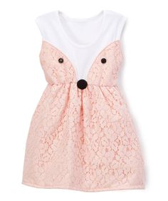 Loving this Caught Ya Lookin' Peach Fox Bow Sleeveless Dress - Infant & Toddler on #zulily! #zulilyfinds