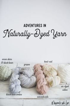 More Adventures in Dyeing Yarn - Onion Skins, Avocado Pits and Grapes, Oh My! — Megmade with Love Kool Aid, Natural Dye Fabric, Natural Dyeing, Yarn Inspiration, Dyeing Yarn, Dyeing Fabric, Textiles, How To Dye Fabric, Hand Dyed Yarn