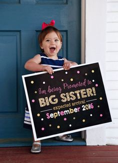 Baby Announcing Ideas Discover Pink Gold Big Sister Announcement Pregnancy Sign Promoted to Big Sis Its a girl Chalkboard DIY Printable Baby Number 2 Announcement, Second Pregnancy Announcements, Big Sister Announcement, Pregnancy Signs, Pregnancy Photos, Baby Photos, Newborn Photos, Chalkboard Diy, Chalkboard Pregnancy