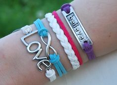 Antique Silver Bracelet, Believe bracelet, Infinity Bracelet, Love Bracelet, Everyday Bracelet- Choose Your Anchor and Color