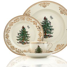 Spode Christmas Tree Gold Collection - Fine China - Dining & Entertaining - Macy's My favorite formal but truly traditional christmas china Christmas China, Spode Christmas Tree, Christmas Dishes, Christmas Tablescapes, Noel Christmas, Christmas Ornaments, Christmas Table Settings, Christmas Table Decorations, Christmas Dinnerware