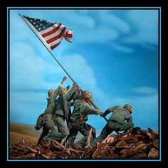 "IWO JIMA FLAG RAISING | The original painting is oil on canvas 59"" by 60"