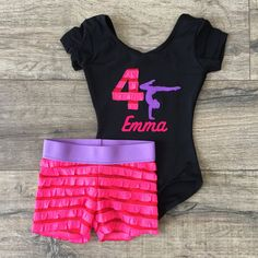 Gymnastics Leotard Outfit Birthday Personalized Gymnast Pink/Red Purple