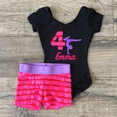 Gymnastics Leotard Outfit Birthday Personalized Gymnast Pink/Red Purple
