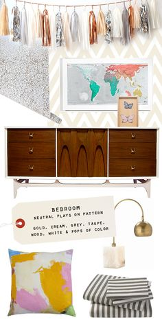 Oh Joy!'s bedroom mood board,and that dresser!