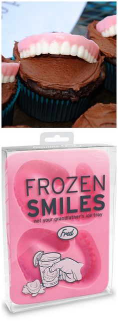 "Dentist's denture cupcake--Using Fred's ""Frozen Smiles"" ice mold, fill the teeth with white chocolate (a paint brush helps with the details).  Let set, and then fill with pink chocolate. Perfect chocolate ""denture"" cupcake topper for any dentist!"