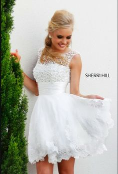 Online Shop New 2015 white short wedding dresses the brides sexy lace wedding dress bridal gown plus size ivory vestido de noiva real sample White Homecoming Dresses, Sherri Hill Prom Dresses, Dress Prom, Flowergirl Dress, Bridesmaid Dress, Bridesmaids, Vestido Sherri Hill, Pretty Dresses, Beautiful Dresses