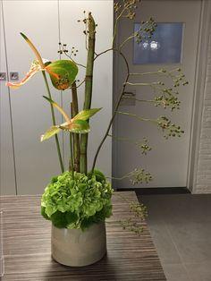Modern Flower Arrangements, Table Arrangements, Corporate Flowers, Ideas Geniales, Simple Flowers, Calla Lily, Ikebana, Indoor Garden, Flower Designs