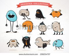 cute monsters, creatures, freaks, doodles, set of vector illustrations by Marish, via Shutterstock
