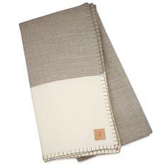 Modern Border Blanket - Oatmeal/White